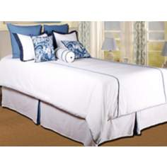 9-Piece White and Blue Filled Queen Bedding Set