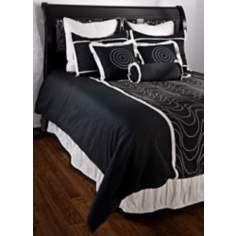 10-Piece Black and White Filled King Bedding Set