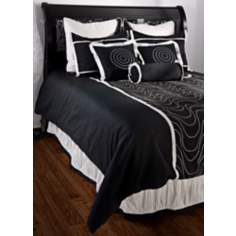 11-Piece Black and White Filled Queen Bedding Set