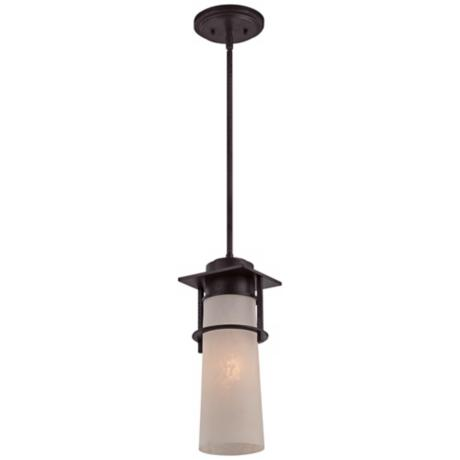 "Drew 17 1/2"" High Iron Age Quoizel Outdoor Pendant Light"