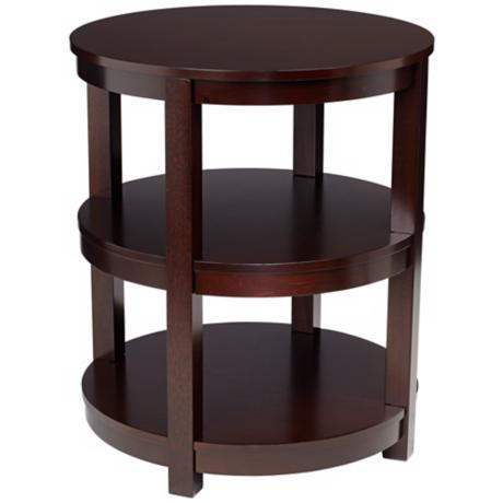 Emma 3-Shelf Espresso Wood End Table