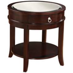 Layla Round Dark Espresso Wood End Table
