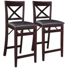 Set of 2 Espresso X-Back Folding Counter Stools
