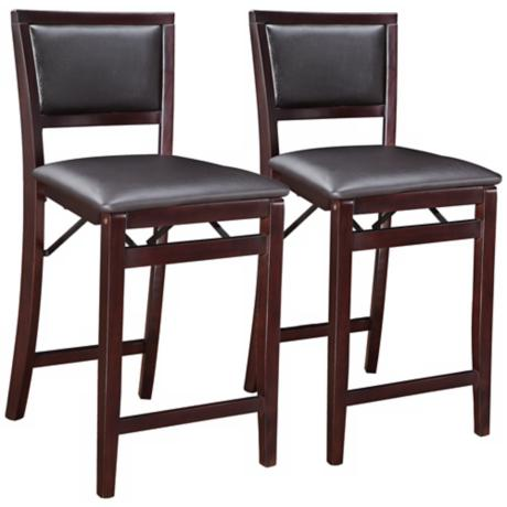 Set of 2 Espresso Padded Back Folding Counter Stools