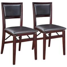Set of 2 Espresso Padded Back Folding Chairs