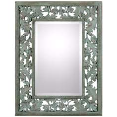 "Uttermost Soana 24 3/4"" Wide Mossy Green Wall Mirror"