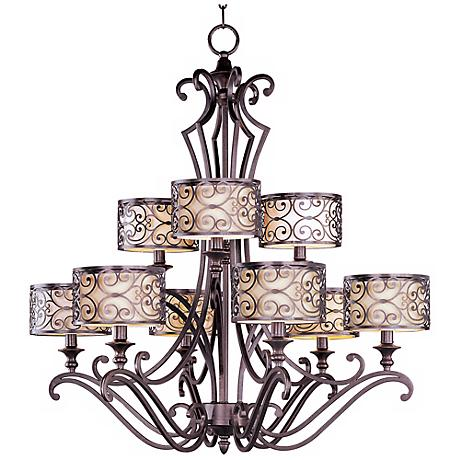 "Maxim Mondrian 36 1/2"" High 9-Light Bronze Chandelier"