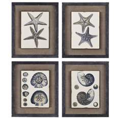 "Uttermost Set of 4 Coastal Blue I-IV 18"" High Beach Wall Art"