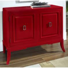 Habanero Red Geometric 2-Door Accent Chest