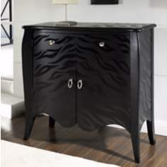 Black Tiger Hand-Painted Accent Chest