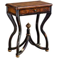 Stratford Leather Inset Hand-Painted Accent Table