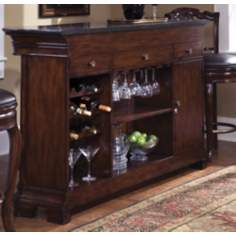 Toscano Vialetto Granite Top and Wood Home Bar Cabinet