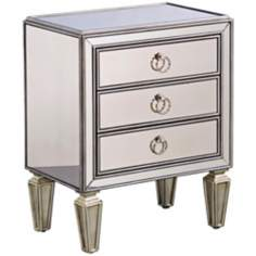 Mirrored 3-Drawer Chairside Chest
