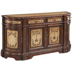 Tivoli Rich Mahogany and Aged Cream Hand-Painted Console