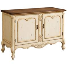 Marcella 2-Door Cream and Chestnut Wood Console