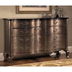 Noble Silver Leaf and Bronze 3-Drawer Console