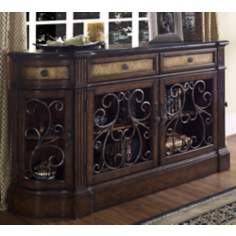 Wrought Iron Marble and Carmel Wood Credenza