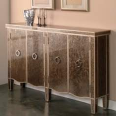 Tiara Gold and Silver Reverse Painted Credenza