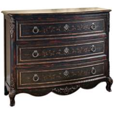 Versailles Black Hand-Painted Wood Chest of Drawers