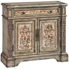 Vera Antiqued European Hand-Painted Hall Chest