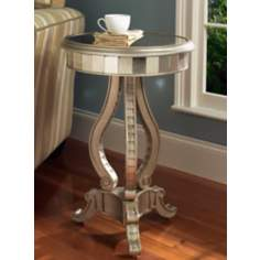 Silver Fantasy Mirrored Pedestal Table