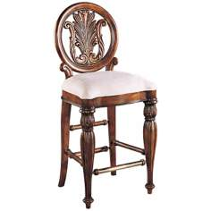 Edwardian Carved Upholstered Bar Stool