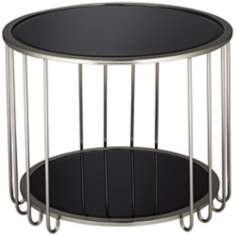 Lisa Black Glass End Table
