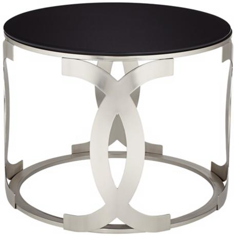 Adrienne Black Glass End Table