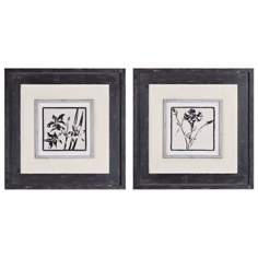 "Uttermost Black and White 22"" Square Floral Wall Art"