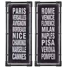 Uttermost Set of 2 European City Names V, VI Retro Wall Art