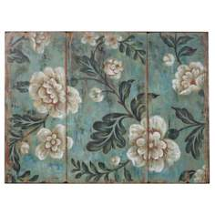 "Uttermost Peach and Aqua 40"" Wide Floral Wall Art"