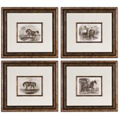 "Set of 4 Uttermost Horses 18 5/8"" Wide Wall Art"