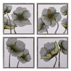 "Set of 4 Uttermost Floral Glow 22"" Square Wall Art"