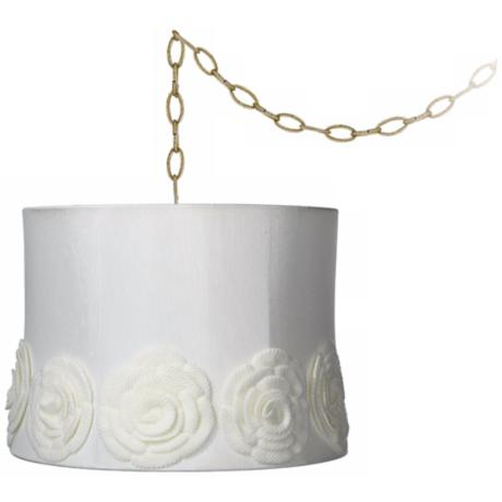 "Cream Crochet Flower 14"" Wide Antique Brass Swag Chandelier"