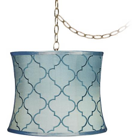 "Blue Moroccan Tile 14"" Wide Antique Brass Swag Chandelier"