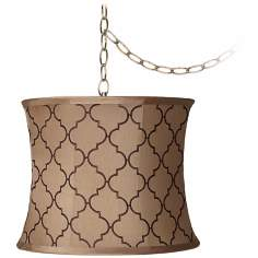 "Brown Moroccan Tile 14"" Wide Antique Brass Swag Chandelier"