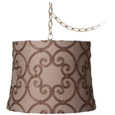 "Leiden Taupe Burlap 16"" Wide Antique Brass Swag Chandelier"