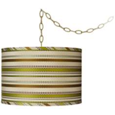 "Ribbon Silk Drum 15"" Wide Antique Brass Swag Chandelier"