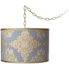 "Damask Silk Drum 15"" Wide Antique Brass Swag Chandelier"