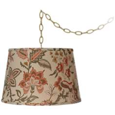 "Coral Floral 15"" Wide Antique Brass Swag Chandelier"