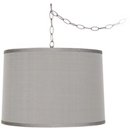 "Platinum Gray 16"" Wide Brushed Steel Swag Chandelier"