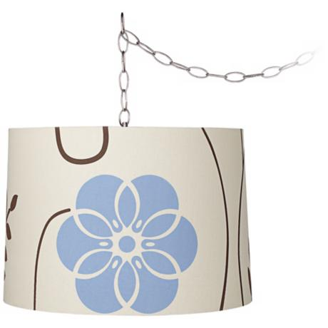 "Blue Flower 16"" Wide Brushed Steel Swag Chandelier"
