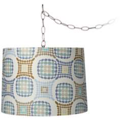 "Blue and Brown Dot 14"" Wide Brushed Steel Swag Chandelier"