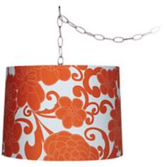 "Orange Floral 14"" Wide Brushed Steel Swag Chandelier"