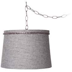 "Gray Tweed 14"" Wide Brushed Steel Swag Chandelier"