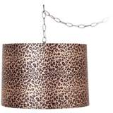 "Leopard Print 16"" Wide Brushed Steel Swag Chandelier"