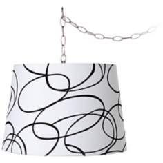 "Black Squiggle 16"" Wide Brushed Steel Swag Chandelier"