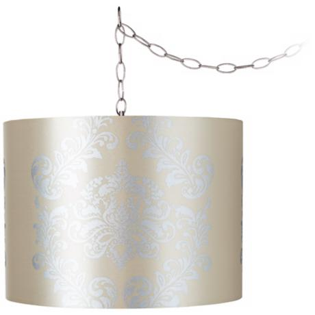 "Yellow with Silver 15"" Wide Brushed Steel Swag Chandelier"