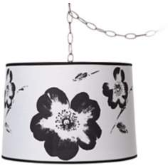"Black and White Flower 16"" Brushed Steel Swag Chandelier"