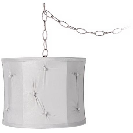 "Grey Pinched 11"" Wide Brushed Steel Swag Chandelier"